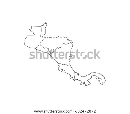 Central America Map Outline Vector Stock Vector (Royalty Free ...