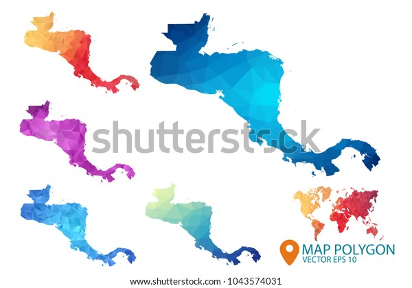 Central America Map Set Geometric Rumpled Stock Vector ...