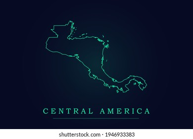 Central America Map - World Map International vector template with thin green outline or outline graphic sketch style and Green color isolated on dark background - Vector illustration eps 10