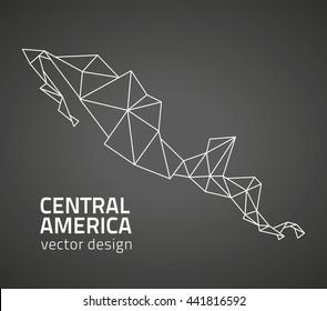 Central America outline vector black  map