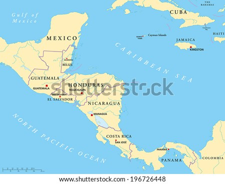 Cenral America Map.Central America Political Map Capitals National Stock Vector