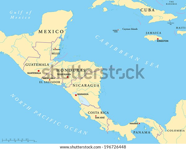 Central America Political Map Capitals National Stock Vector ...
