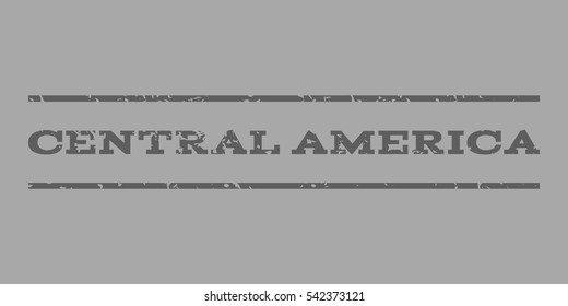 Central America watermark stamp. Text tag between horizontal parallel lines with grunge design style. Rubber seal stamp with dust texture. Vector dark gray color ink imprint on a silver background.