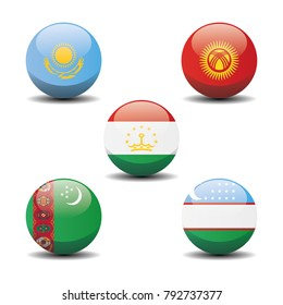 Central Asia country national circle button flags background texture. Vector illustration