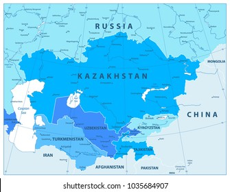 Central Asia Political Map In Colors Of Blue. Vector illustration.