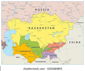 Central Asia Political Map. Vector illustration.