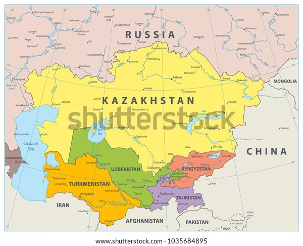Political Map Of Central Asia.Central Asia Political Map Vector Illustration Stock Vector Royalty