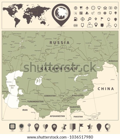 Central Asia Political Map World Map Stock Vector Royalty Free