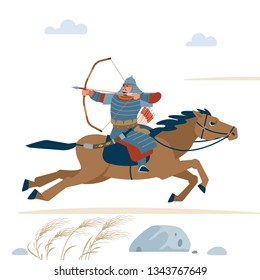 Central Asian Warrior with bow, Riding horse, isolated vector flat illustration