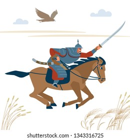 Central Asian warrior horseman, attack in battle. Isolated vector illustration in flat cartoon style.