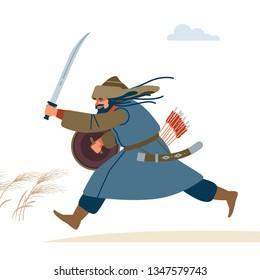 Central Asian Warrior. Medieval battle illustration. Historical illustration. Isolated vector flat illustration