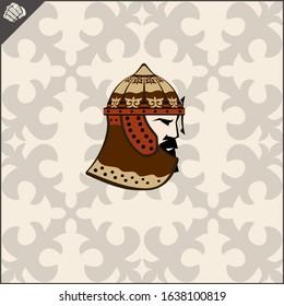 Central Asian warrior nomads, Isolated vector illustration in flat cartoon style logo . Kazakhstan.