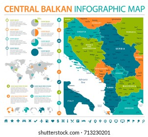 Central Balkan Map - Detailed Info Graphic Vector Illustration