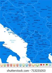 Central Balkan Map - Detailed Vector Illustration