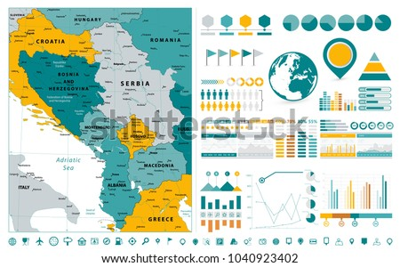 Central Balkan Region Map Infographics design elements. On white. Business template in flat style for presentation, booklet, website and other creative projects.