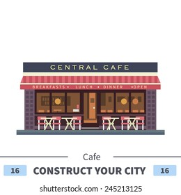 Central cafe building. Summer terrace. Set of elements for construction of urban and village landscapes. Vector flat illustration