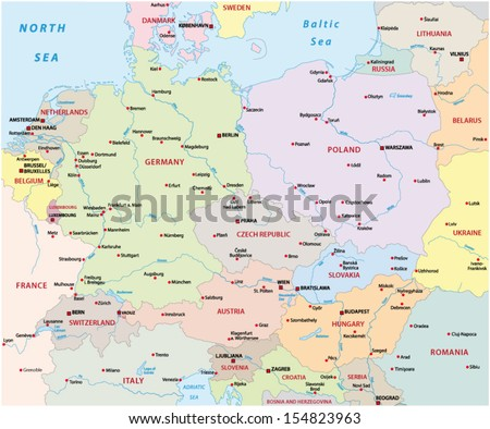 Central Europe Map Stock Vector (Royalty Free) 154823963 - Shutterstock