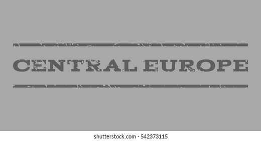 Central Europe watermark stamp. Text tag between horizontal parallel lines with grunge design style. Rubber seal stamp with dirty texture. Vector dark gray color ink imprint on a silver background.