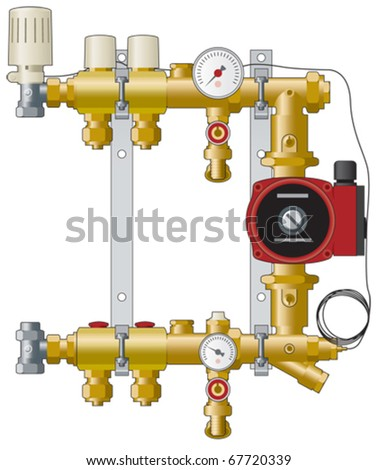 Central Heating Manifold Pipework And Pump Stock Vector (Royalty ...