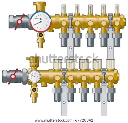 Central Heating Manifold Pipework Gauges Vector Stock Vector ...