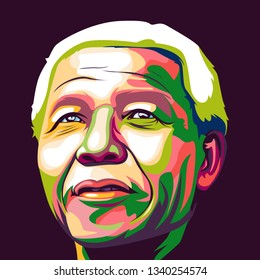 Central Java, Indonesia - March 16 2019: Colorful pop art illistration of Nelson Mandela ( madiba )