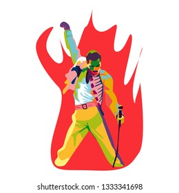 Central Java, Indonesia - March 9 2019: Colorful pop art illistration of Freddie Mercury