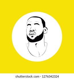 central java - January 07, 2019 : portrait of lebron james in line art vector isolated