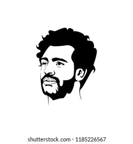 Central Java, Sept 20 2018: Line art vector  illustration face head Mohamed Salah Ghaly Egyptian professional footballer English club Liverpool and the Egyptian national team