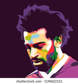 Central Java, Sept 28 2018: Pop Art vector  illustration face head Mohamed Salah Ghaly Egyptian professional footballer English club Liverpool and the Egyptian national team