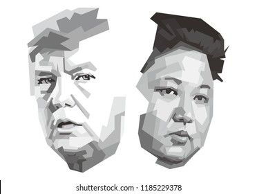 Central Java, September 19 2018: Donald Trump and Kim Jong-un. Vector Portrait Drawing Illustration with white background