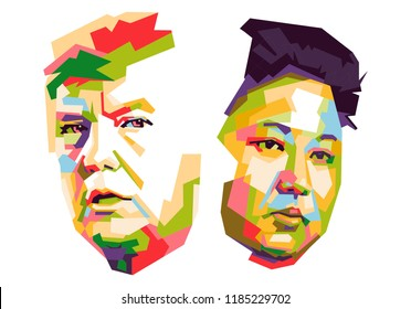Central Java, September 19 2018: Donald Trump and Kim Jong-un. Vector Popart Portrait ( wpap ) Drawing Illustration with white background