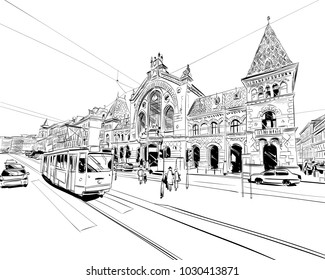 Central market. Budapest. Hungary. Europe. Hand drawn city sketch. Vector illustration.