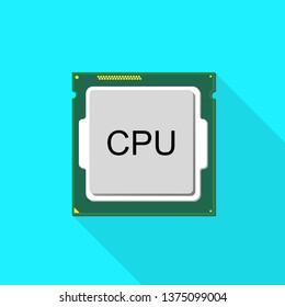 Central Processor Unit line vector icon for computer. CPU icon flat style. CPU Vector graphic. CPU Illustration. Basic CPU icon.