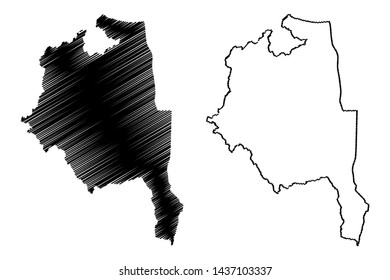 Central Region Malawi (Republic of Malawi, Regions of Malawi, Administrative divisions) map vector illustration, scribble sketch Central Region map