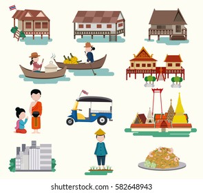 Central Thailand travel elements in flat style, isolated on white background, illustration, vector