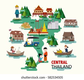 Central Thailand travel with their thai culture and identity, all in flat design, illustration, vector