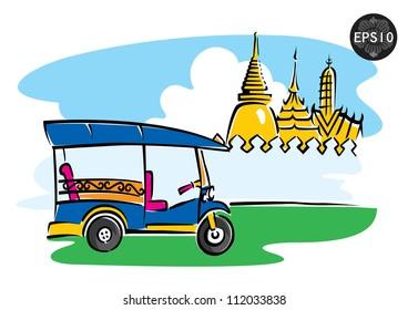 Central of Thailand, Tuk Tuk in front of grand palace, Bangkok, vector