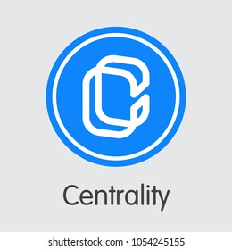 Centrality - Cryptocurrency Concept. Colored Vector Icon Logo and Name of Cryptographic Currency on Grey Background. Vector Pictogram for Exchange WSP.