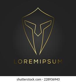 Centurion warrior helmet logo design element. Security visual identity. Vector illustration.