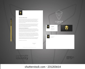 Centurion warrior helmet logo design element. Security visual identity. Elegant minimal style corporate identity template. Letter envelope and business card design. Vector illustration.