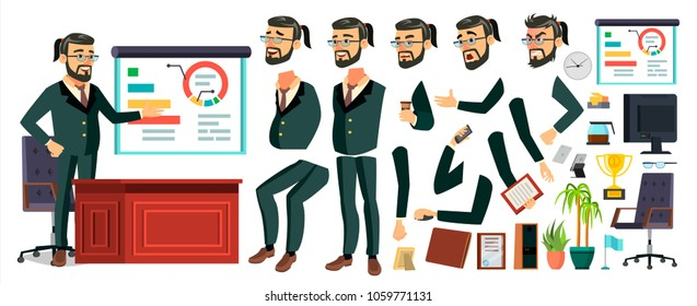 CEO Business Man Character Vector. Working Bearded CEO Male. Modern Office Workplace. Chief Executive Officer, General, Colonel, Capital. Animation Set. Face Emotions. Cartoon Illustration