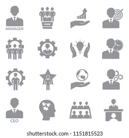 CEO And Manager Icons. Gray Flat Design. Vector Illustration.