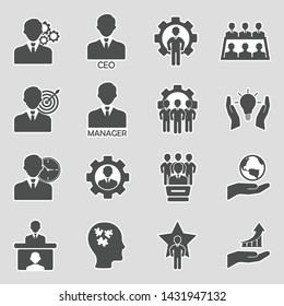 CEO And Manager Icons. Sticker Design. Vector Illustration.