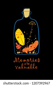 ceptual illustration on a black background of the value of memories with the image of the bottle, inside which are the feathers of birds, a dry leaf of a tree, a dried plant, stones. Memories of summe