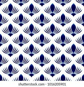 ceramic blue flower seamless pattern, abstract flora background, porcelain design vector illustration