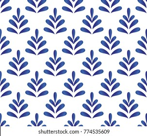 ceramic blue leaves pattern seamless vector, cute porcelain background design
