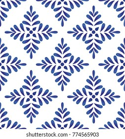 ceramic blue leaves pattern seamless vector, cute porcelain background design damask style