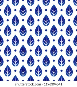 ceramic blue and white leaf pattern seamless vector, cute porcelain background design