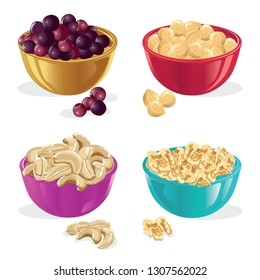 ceramic bowl, grapes, hazelnut, cashew, walnut, vector