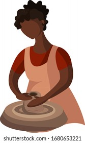 Ceramic craft master, ceramics pottery. The girl is engaged in pottery. Clay crafting. Work on the pottery wheel. Handwork, handcraft, hobbies